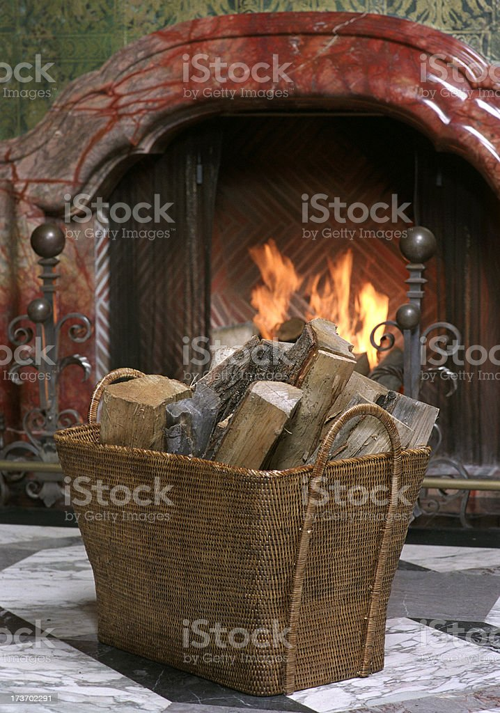 Wood and Fireplace stock photo