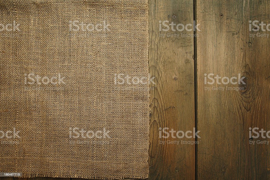 Wood and sackcloth texture stock photo
