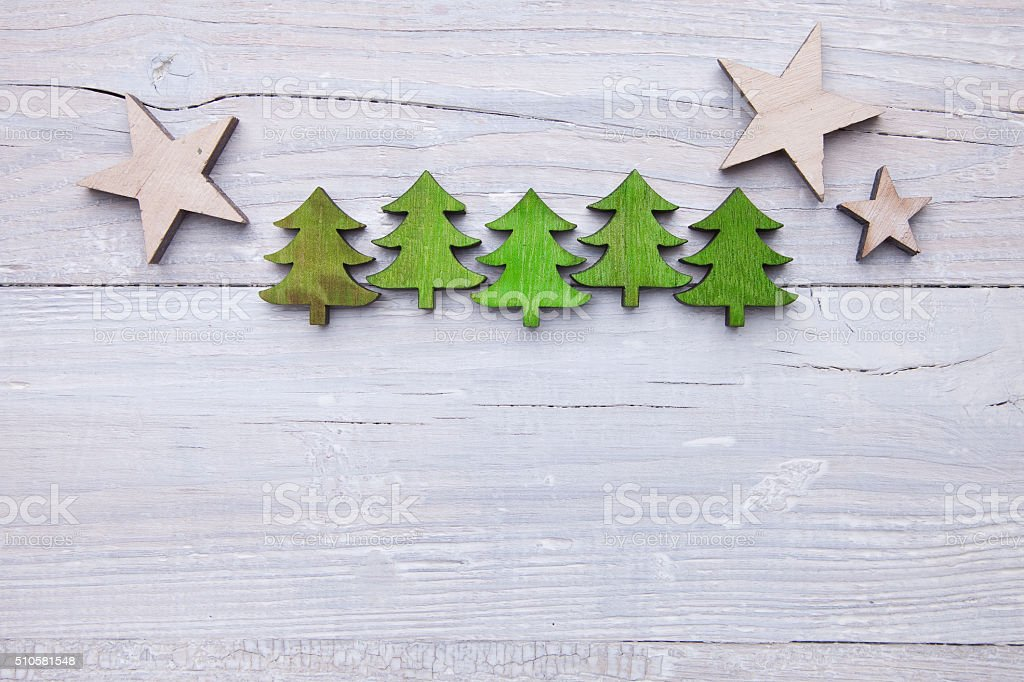 Wood background with christmas decorations stock photo