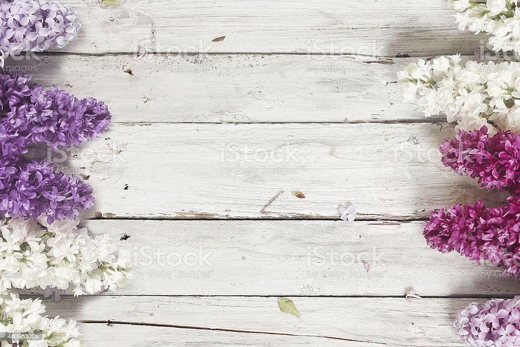 wood background with lilac flowers stock photo