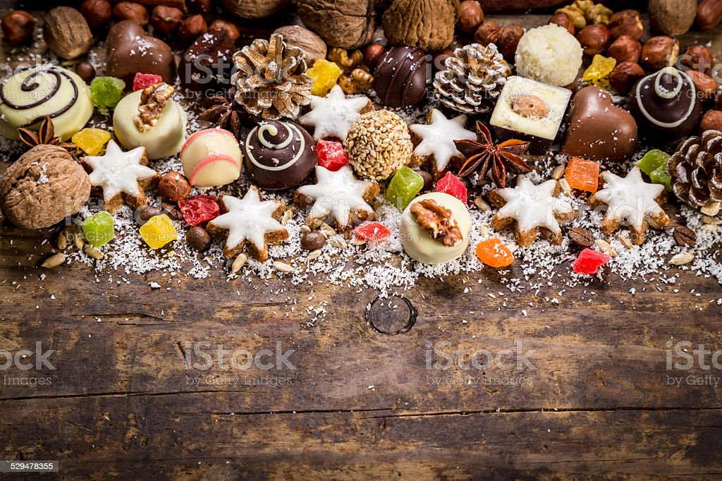 Wood background with sweets stock photo