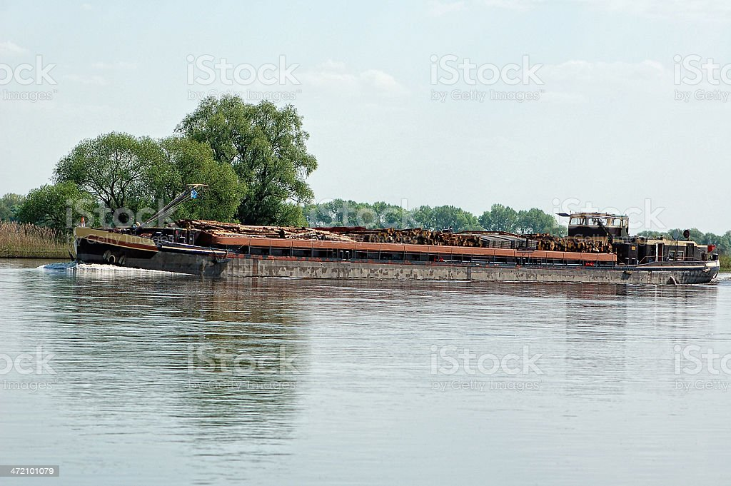 wood barge on Elbe river royalty-free stock photo