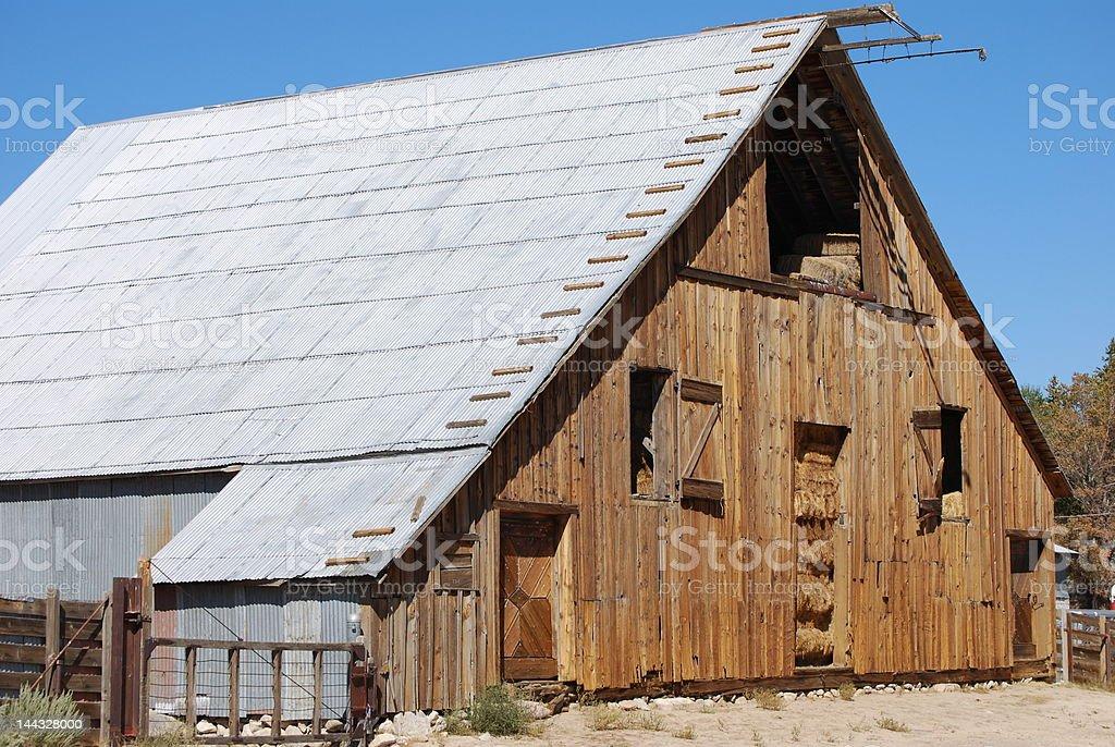 Wood Barn stock photo
