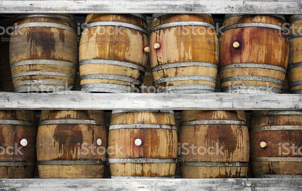 Wood barrels for wine. stock photo