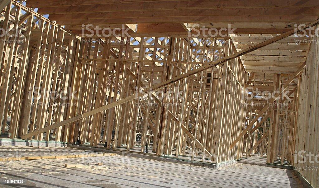 Wood Beams At A Construction Of Home royalty-free stock photo