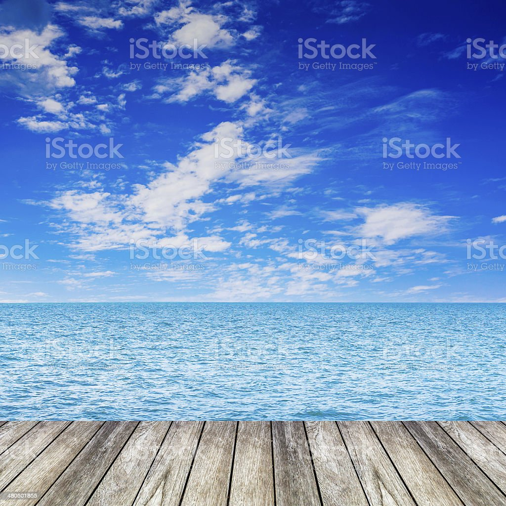 wood beauty seascape and blue clouds sky stock photo