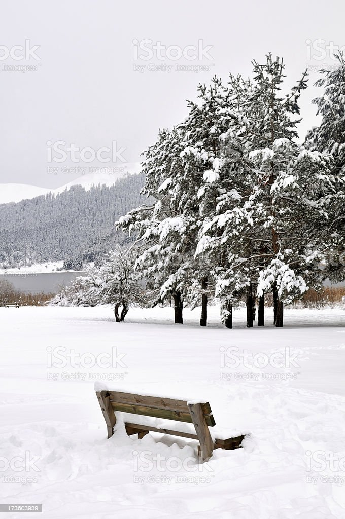 wood bench in the snow royalty-free stock photo