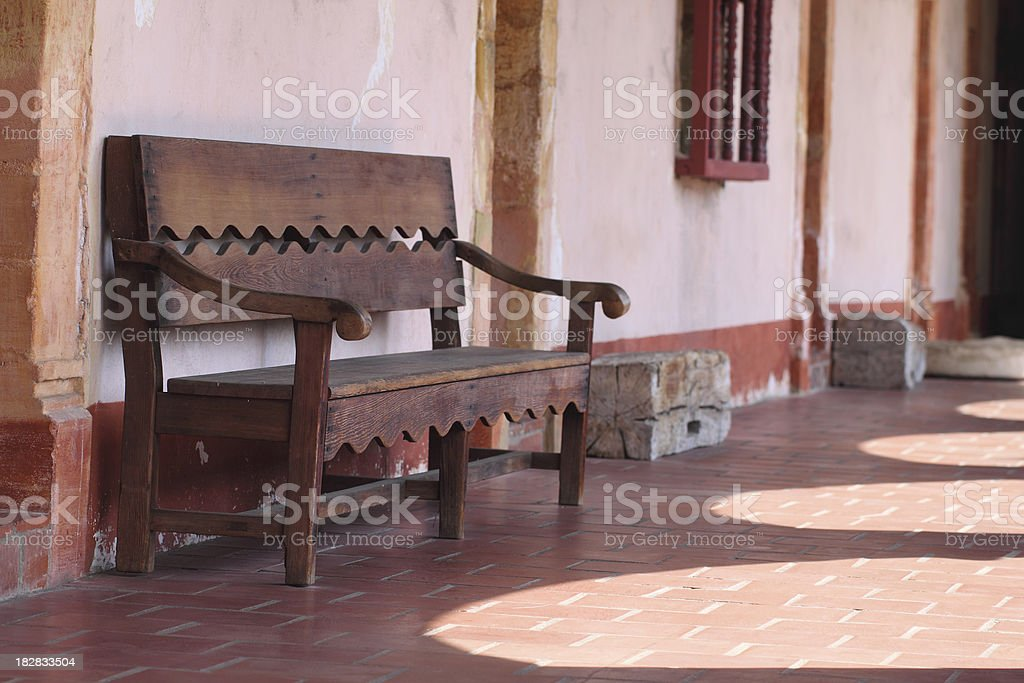 Wood bench seat stock photo