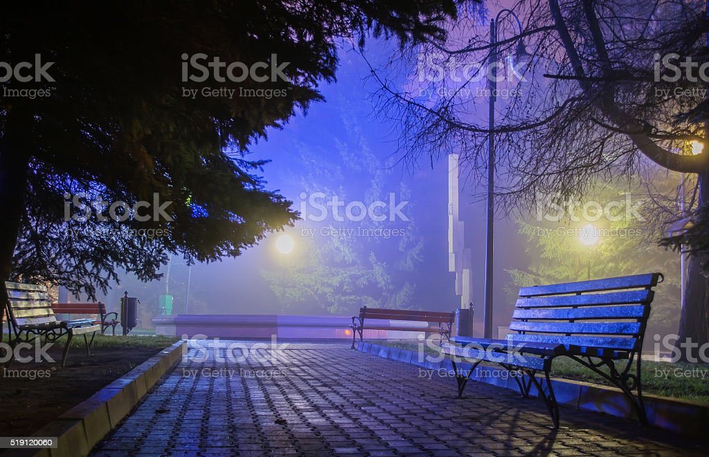 wood benches in the night park stock photo