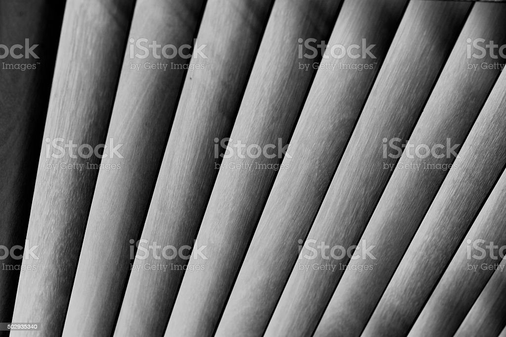Wood Blinds Slat Background, Backlit, Fan Shape, Golden Brown stock photo