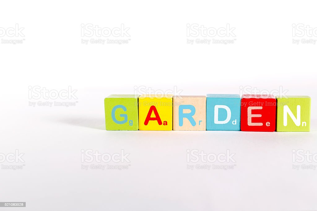 Wood block for kid.Imagine the sort of words. stock photo