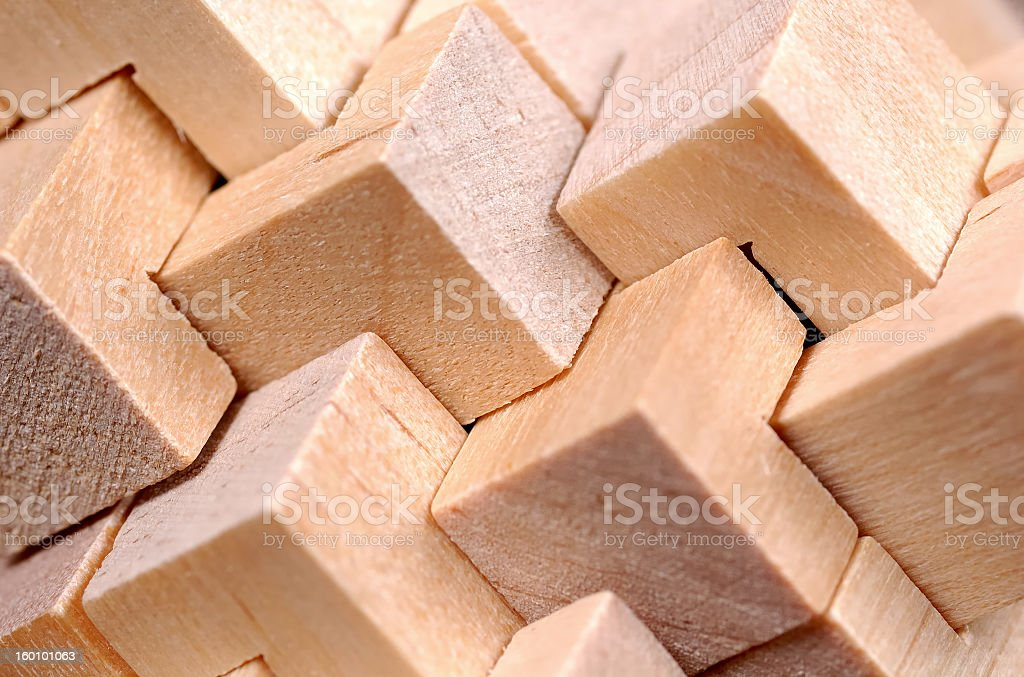 Wood blocks cut to form an abstract pattern  royalty-free stock photo