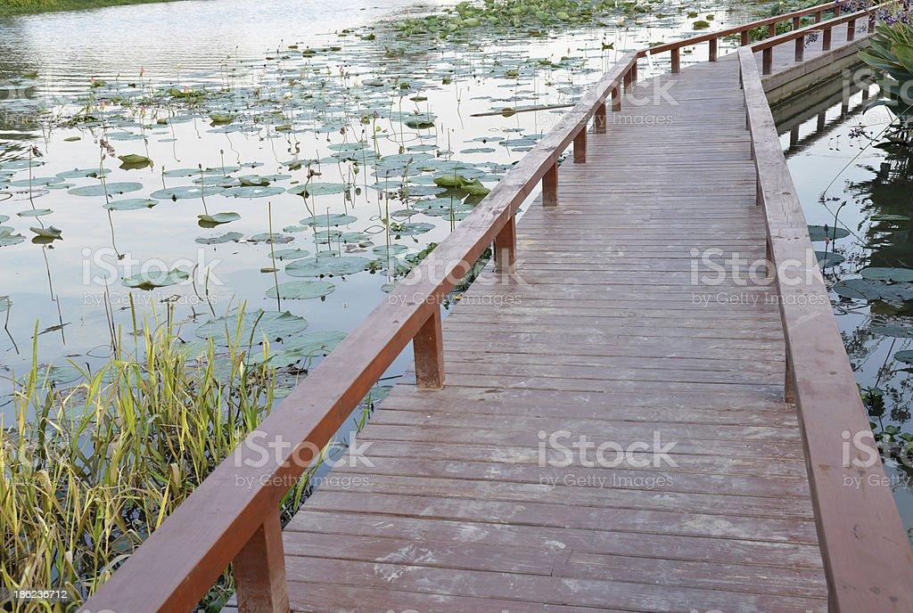 Wood board bridge pavement royalty-free stock photo