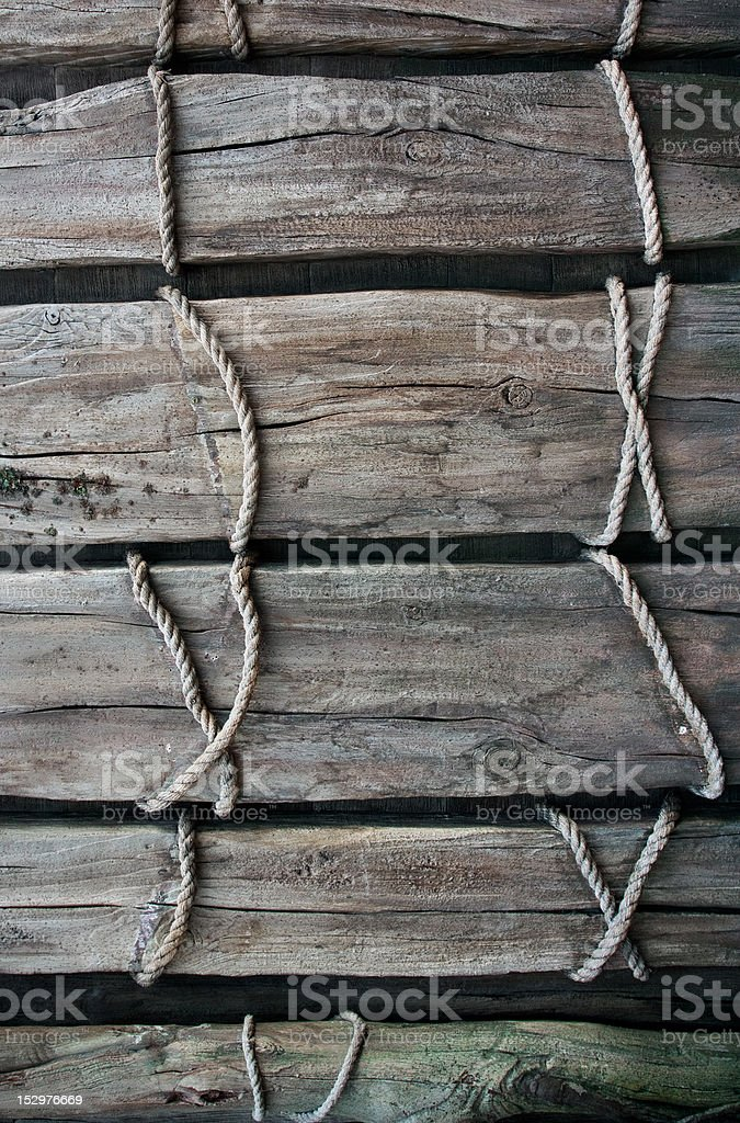 Wood Board tired with rope stock photo