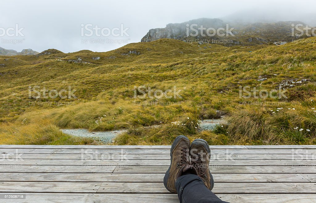 wood board with alpine view stock photo