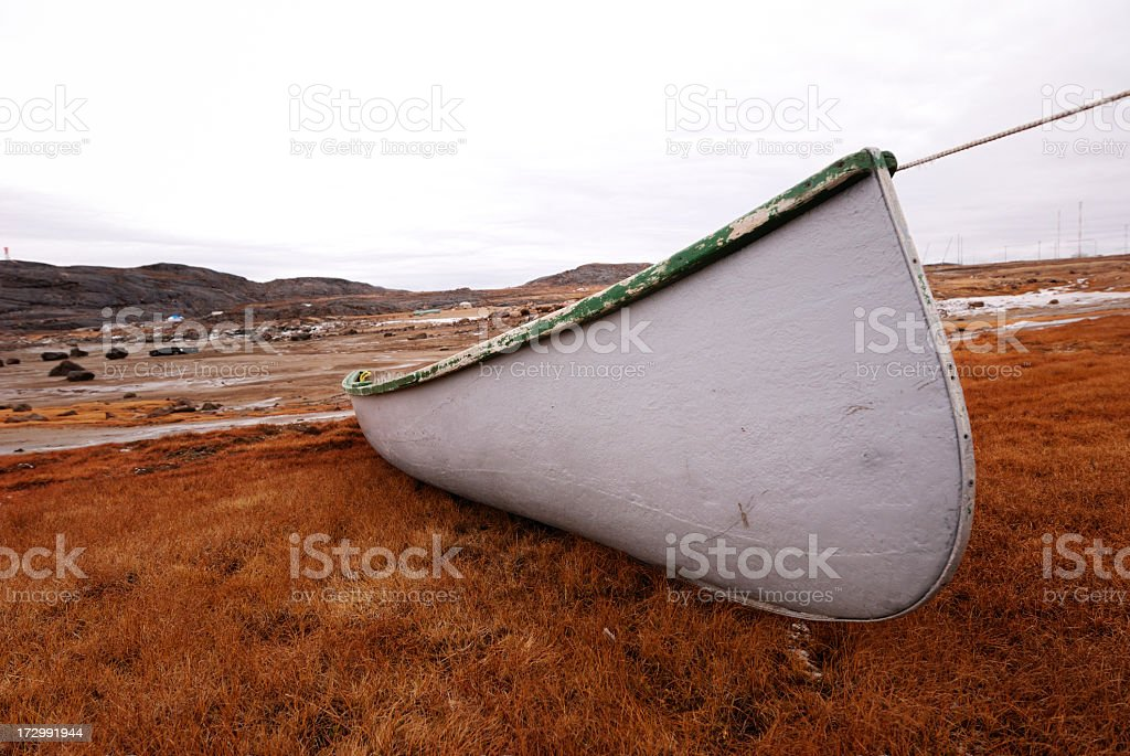 Wood Boat, Baffin Island. stock photo