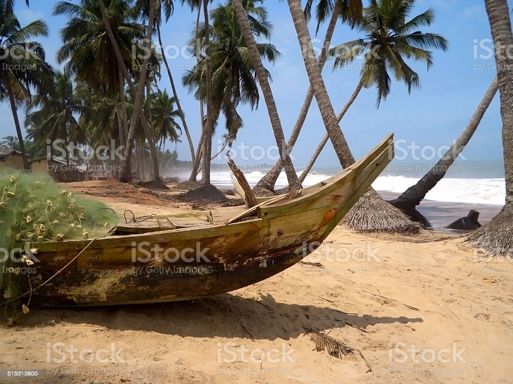 Wood boat on beach stock photo
