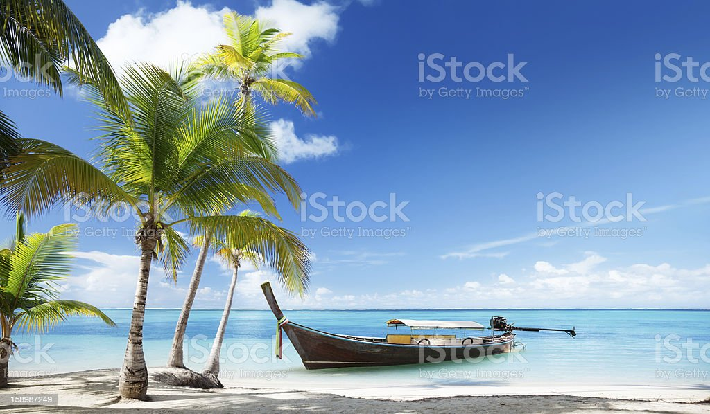 wood boat on the beach royalty-free stock photo
