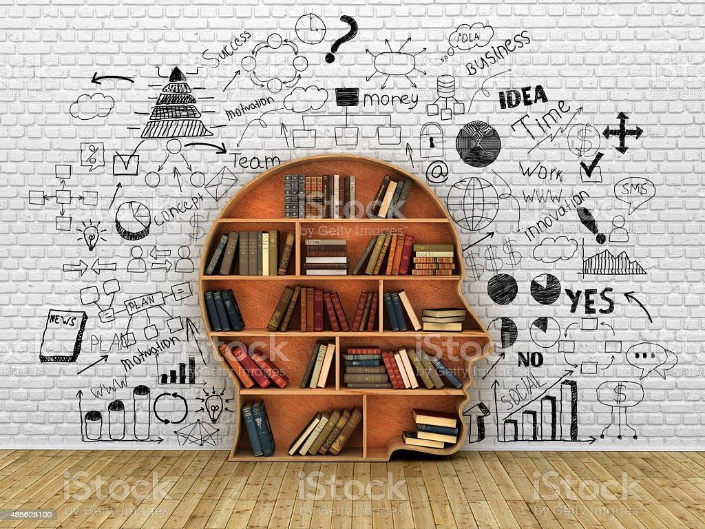 Wood Bookshelf stock photo
