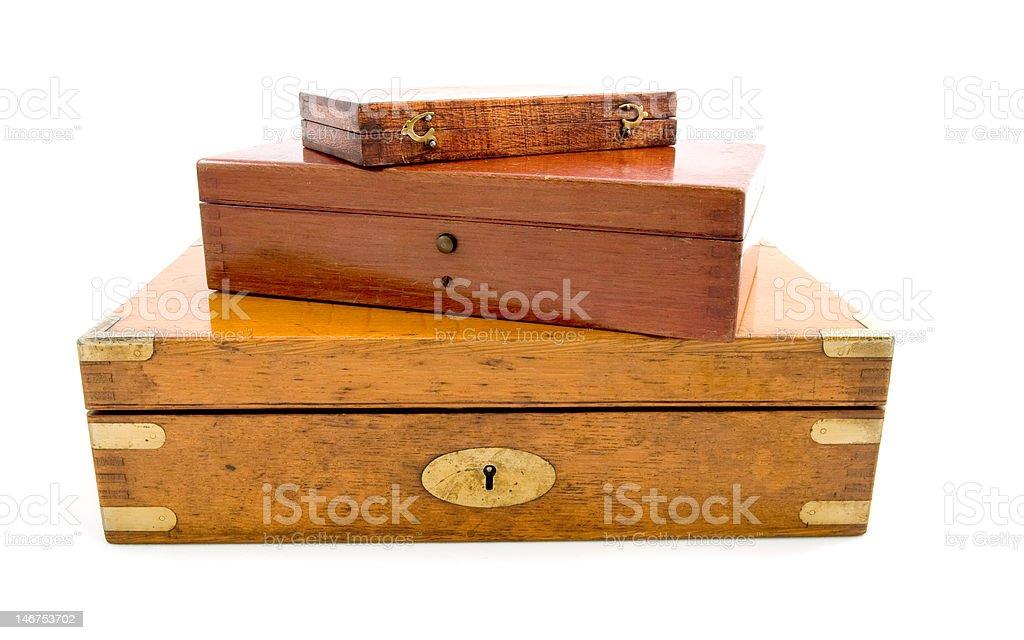 Caixa de madeira isolada foto royalty-free