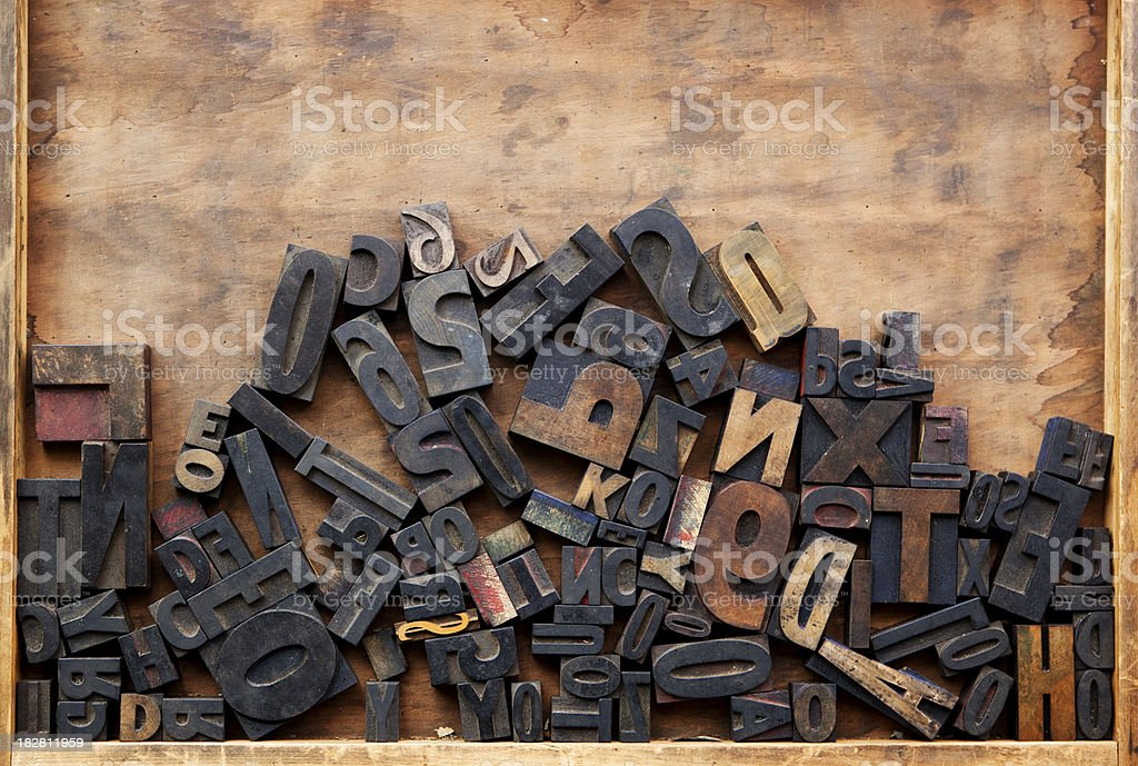 Wood Box of Letterpress Characters stock photo