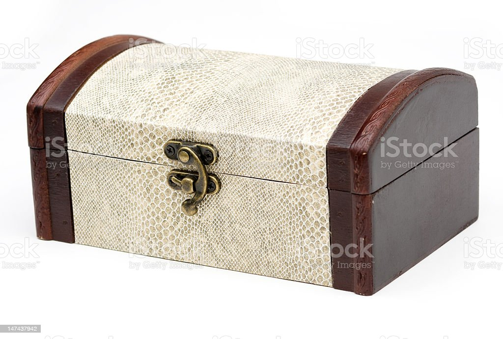 wood box with snake skin royalty-free stock photo