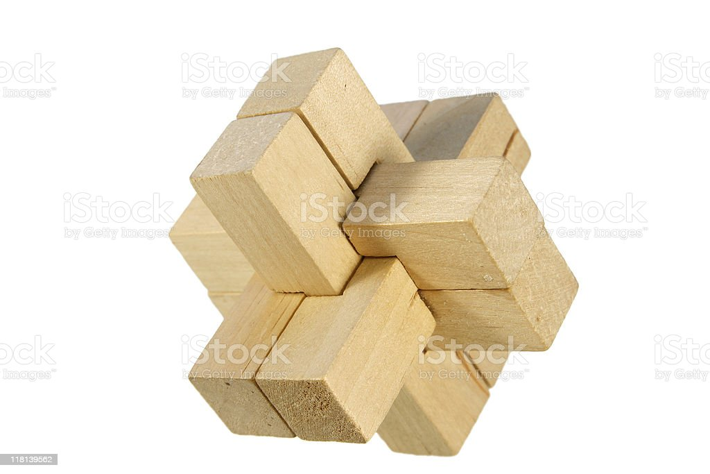 wood brain teaser stock photo