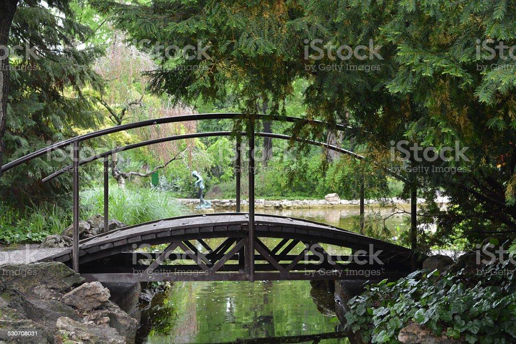 Wood Bridge in Margaret Island stock photo