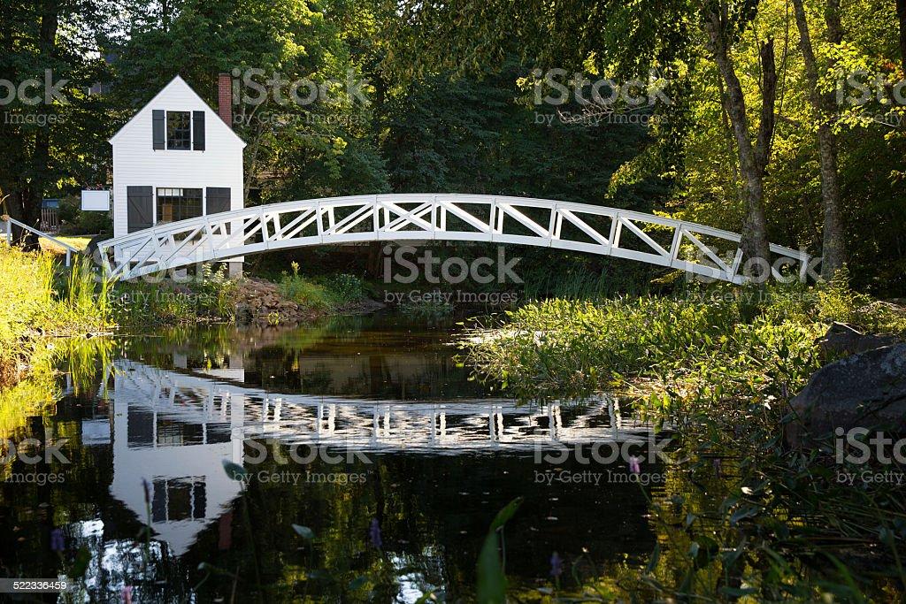 Wood bridge, Somesville stock photo