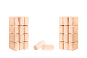 Wood briquettes isolated on white background.Firewood.Briquettes
