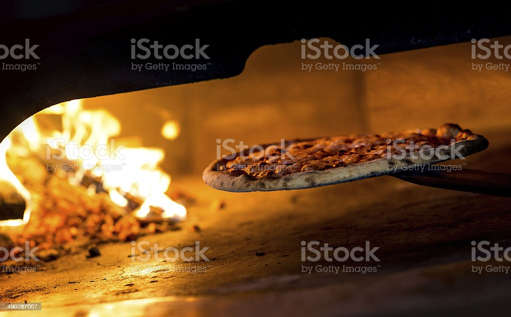 Wood Burning Oven Pizza stock photo