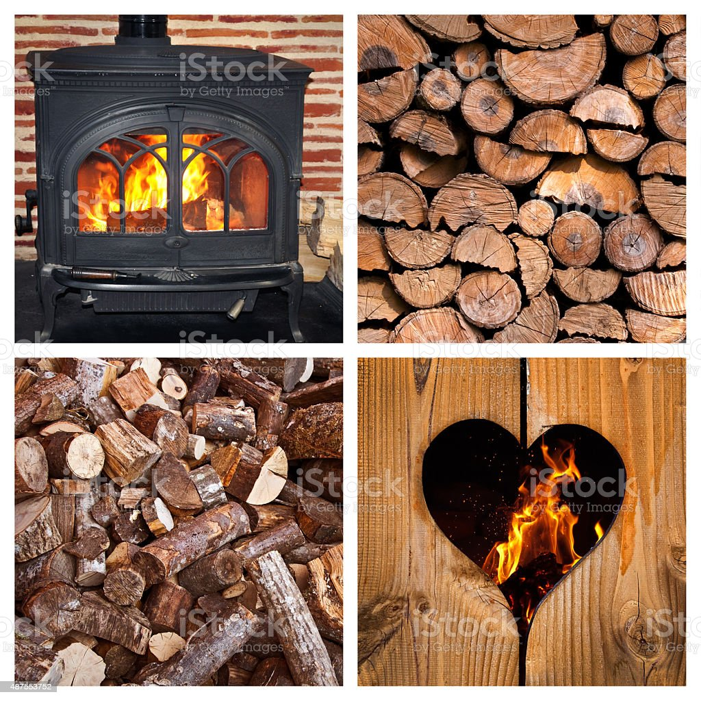 Wood burning stove and logs collage stock photo