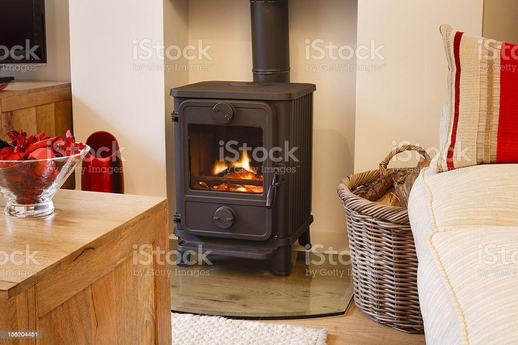Wood burning stove stock photo