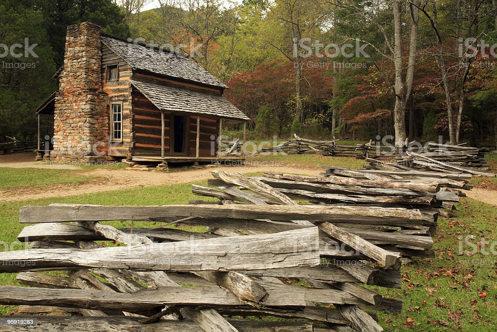 Wood cabin, Cades Cove, Great Smoky Mountains National Park stock photo