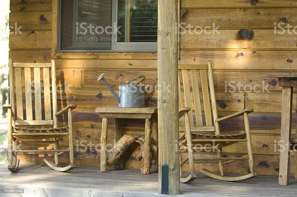 Wood Cabin Porch royalty-free stock photo
