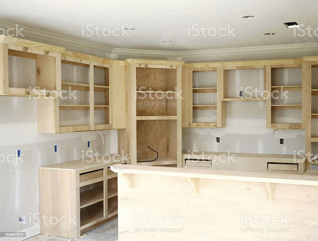Wood Cabinets stock photo