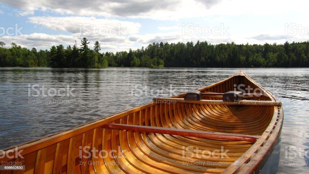 Wood Canvas Canoe stock photo