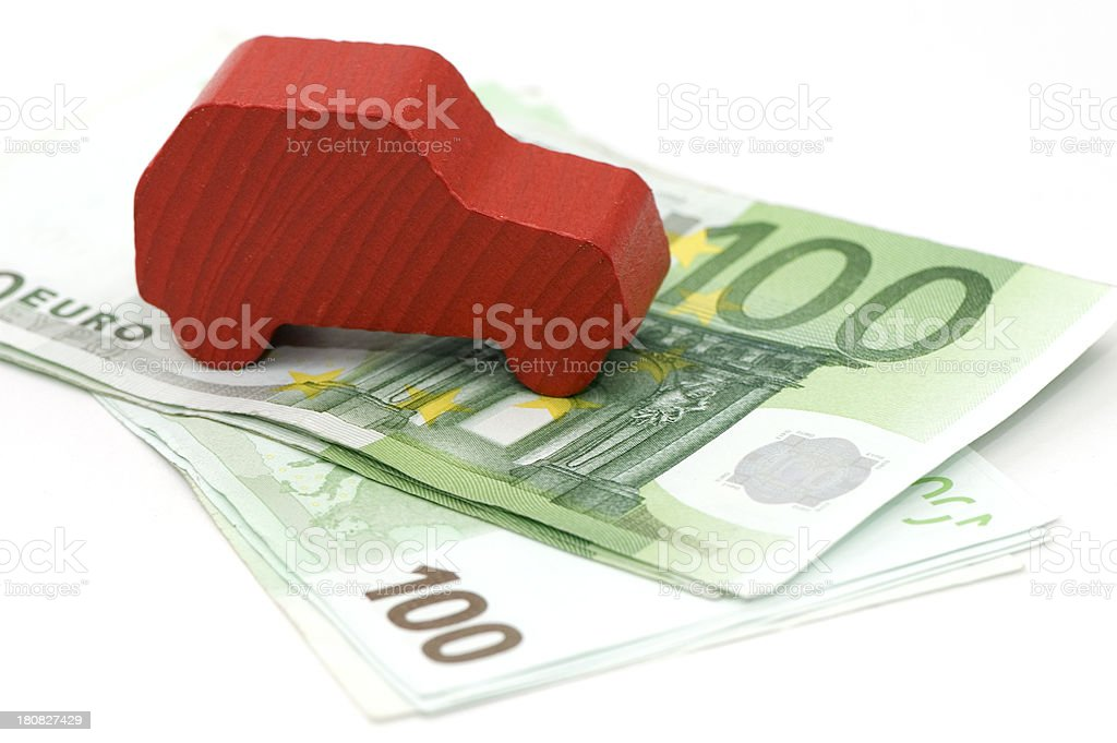 Wood Car on 100 Euro Banknotes. royalty-free stock photo