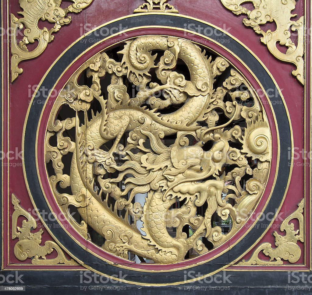 Wood Carved Chinese Dragon royalty-free stock photo