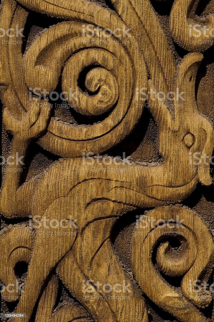 Wood Carving at Heddal Stave Church stock photo