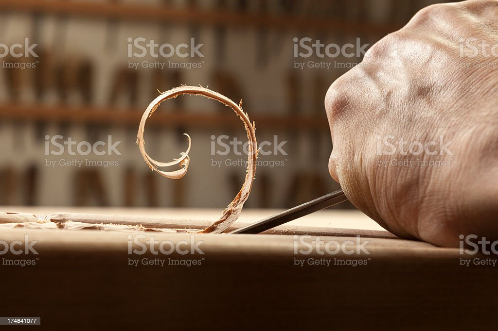 Wood carving detail stock photo