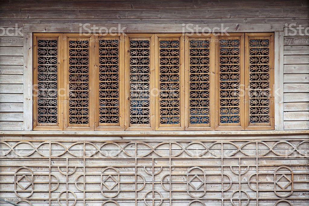 Wood carving window royalty-free stock photo