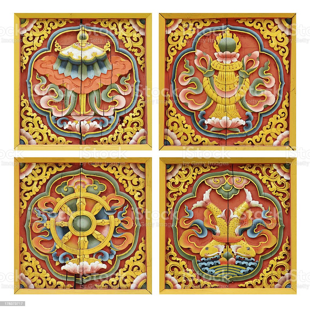 Wood Carvings On Windows Of Bhutanese royalty-free stock photo
