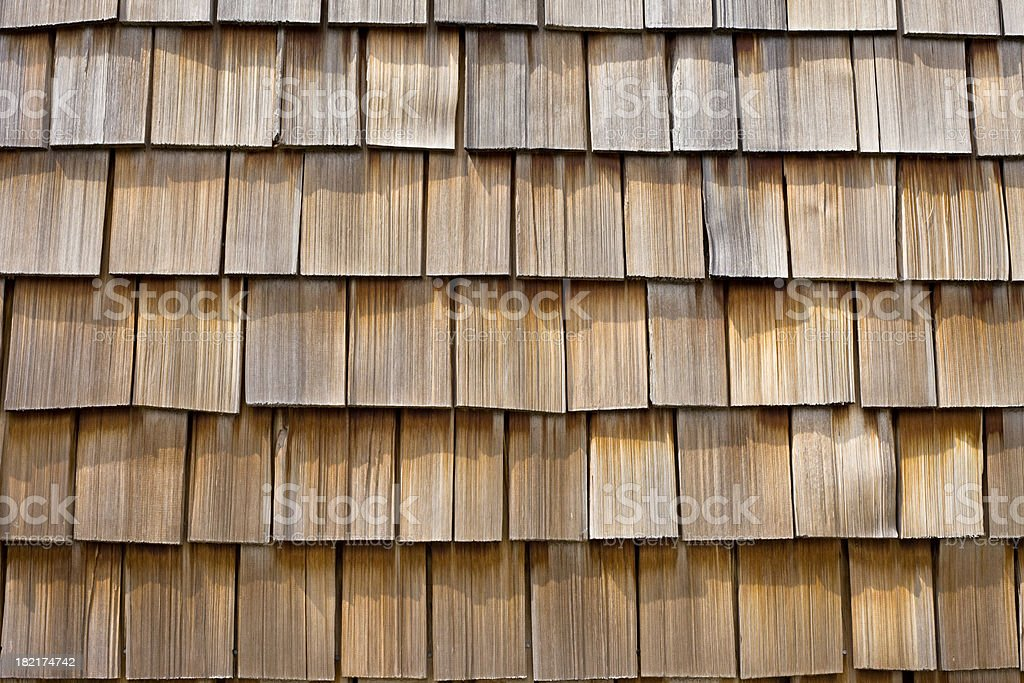 Wood Cedar Shingle Background Closeup stock photo