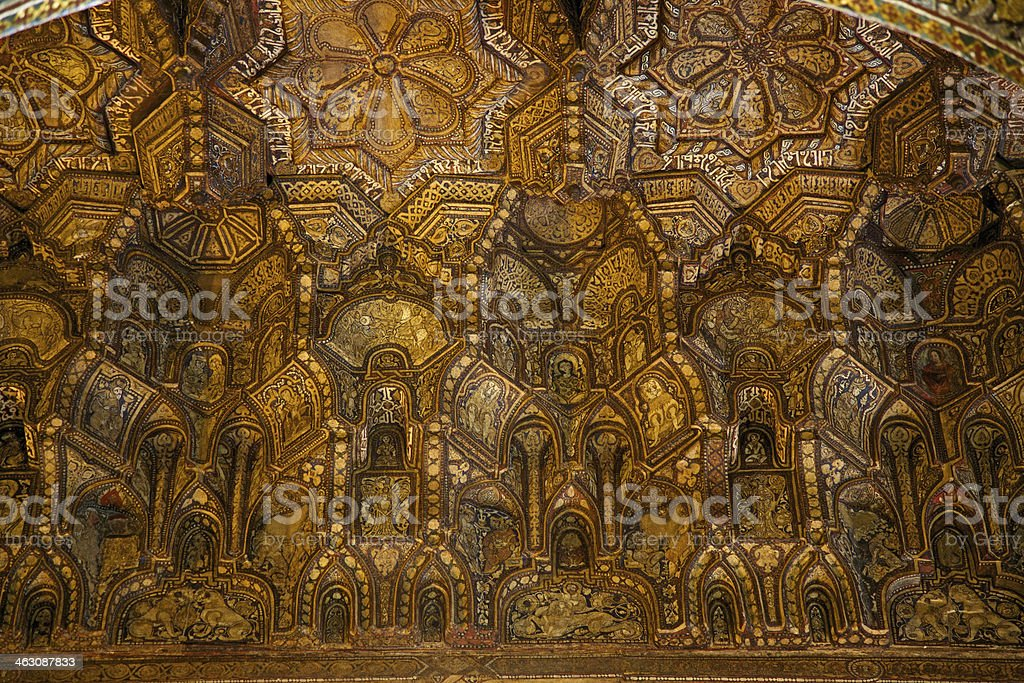 Wood ceiling of Cappella Palatina in Palazzo dei Normanni. Palermo-Italy. royalty-free stock photo