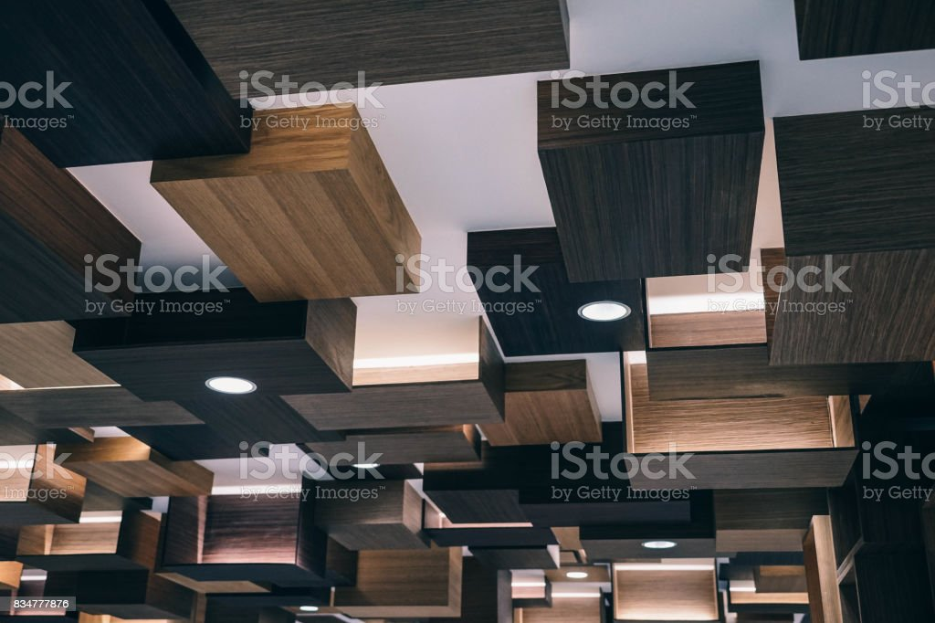 Wood Ceiling Panels stock photo