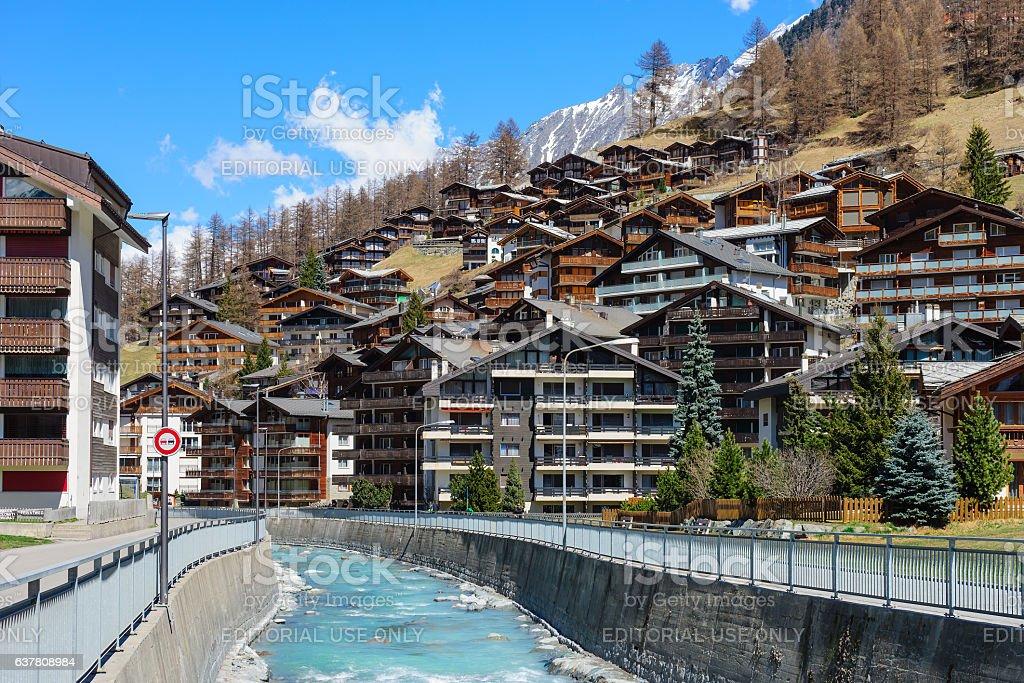 Wood chalet and hotel in Zermatt stock photo