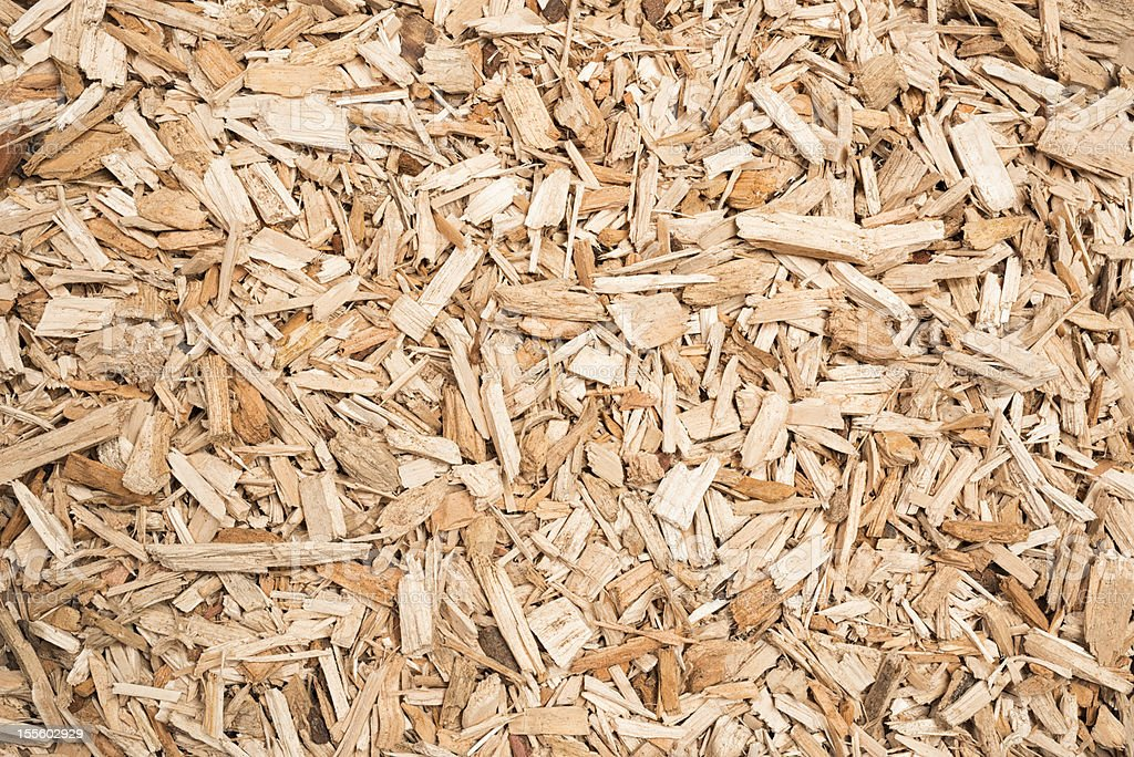 Biomass Wood Chips ~ Wood chip fuel for biomass boiler stock photo