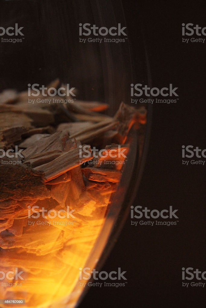 wood chips in glass stock photo