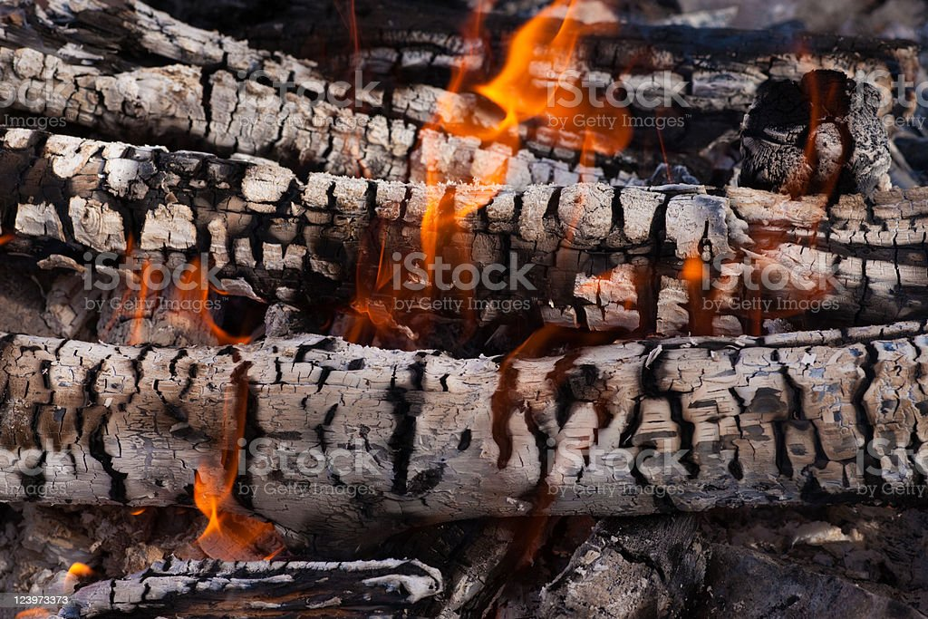 wood coals and flames royalty-free stock photo
